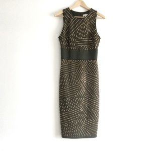 Bisou Bisou Green Sleeveless Dress Gold Accents 6